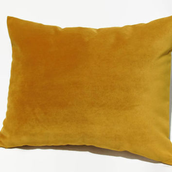 Mustard Pillow, Mustard Velvet Pillow, Mustard Velvet Bed Pillow, Mustard Velvet Pillow Cover, Mustard Velvet Decorative Pillow