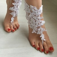EXPRESS SHIPPING White Barefoot Sandals, Wedding sandals, Bridal  Shoes, Beach wedding , foot jewelry  Bridesmaid sandals, Bridal Barefoot