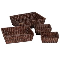 Household Essentials 4-pc. Banana Leaf Wicker Basket Set (Brown)