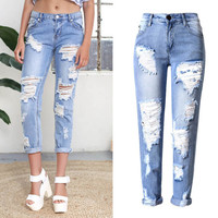 Classic Blue Distressed Boyfriend Jeans - 90's Mom Jeans Ripped