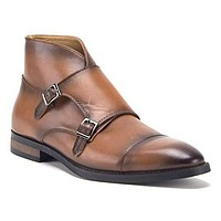 Men's E-622 Hand Burnished Double Monk Strap Ankle High Dress Boots