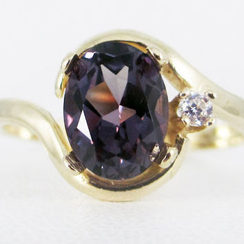 Alexandrite 14k Yellow Gold CZ Accents Oval Ring
