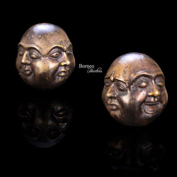 Four-Faced Buddha Statue;Joy,Anger,Sorrow,Serenity/Asian Brass Sculpture/4 Different Emotion Buddha/Fortune,Protection,Knowledge (ONE PIECE)