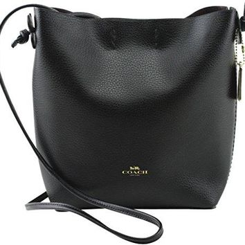 COACH Derby Pebbled Leather Crossbody in Light Gold / Black 58661