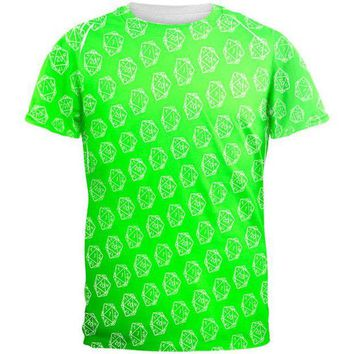 DCCKU3R D20 Gamer Critical Hit and Fumble Green Pattern All Over Mens T Shirt