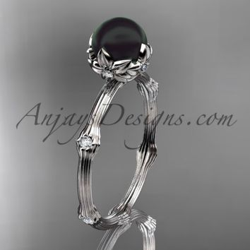 Platinum Tahitian Black Pearl vine and leaf engagement ring ABP38