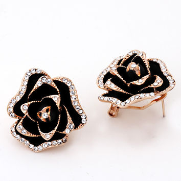 Blooming Rose Gold Plated  Jewelry Earring
