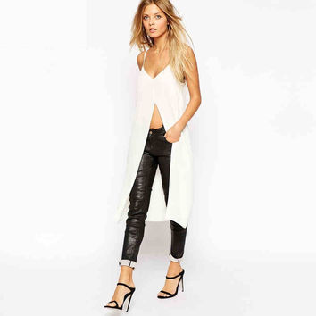 White Strap Chiffon Tee With Slit