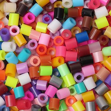 DoreenBeads 5mm 1000pcs Randomly Mixed Hama Fuse Beads DIY Toy Puzzle Kids Child Intelligence Educational Toy Beads Cylinder