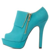 Side-Zip Peep Toe Platform Booties by Charlotte Russe - Teal Green