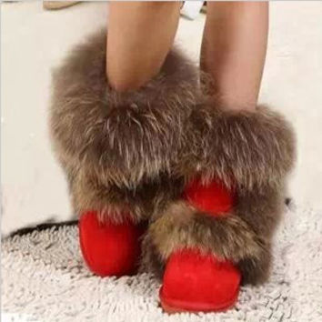 Fox Fur Snow Boots Winter Wedding Shoes Red Waterproof Warm Shoes Leopard Botas Femininas