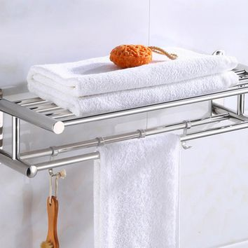 Bathroom Towel Holder Bathroom Organizer Stainless Steel Wall-mounted Towel Rack Home Hotel Wall Shelf Hardware Accessory