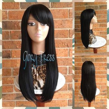 Ready To Ship // Long & Straight Full Wig, China Bangs/Side Swoop Bangs, Long Black Wig // RAVEN