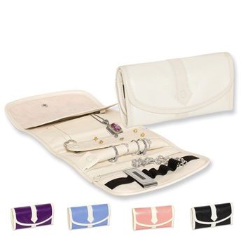 Snake Textured PU Ivory Trim Jewelry Roll -  Various Colors