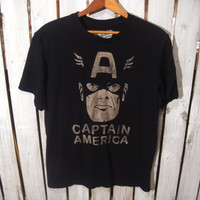 Captain American, Retro T-Shirt, Size Small. Reconstruction Available