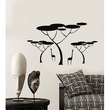 Vinyl Wall Decal African Landscape Giraffes Animals Nature Stickers (3281ig)
