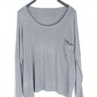 Women Loose Euro Style Long Sleeve Pure Color Grey T-Shirt One Size@SX0005gr $11.48 only in eFexcity.com.