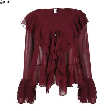 Wine Red V Neck Layered Ruffle Chiffon Blouse Women Flared Long Sleeve Tied Front Semi Sheer High Street Fashion Top