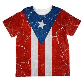 CREYON Distressed Puerto Rican Flag All Over Toddler T Shirt