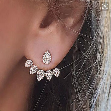 Trendy Crystal Front Back Double Sided Stud Earrings For Women Fashion