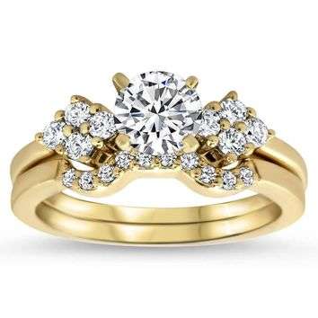 Diamond Accented Engagement Ring with Matching Wedding Band - Love Cluster Wedding Set