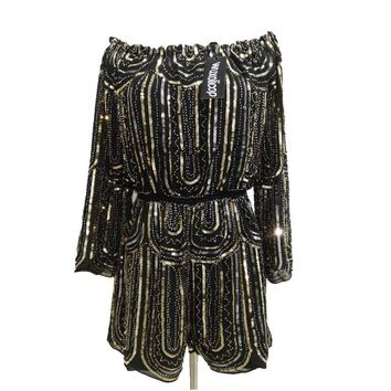 Winter Women Chiffon Jumpsuits Neck Off Shoulder Long Sleeve Geometric Sequined Beaded Elastic Waist Party