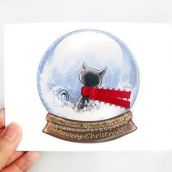 Christmas Card, Black Cat Card, Snow Globe Card, Funny Greeting Card, Merry Christmas, Meowy Christmas, Personalized Card, Snowglobe Card