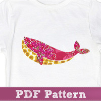 Whale Applique template PDF - Sea, Animal, Shirt , Kids Girls, Boys Pattern