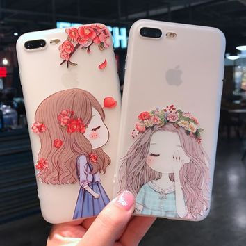 Fashion  Case for iphone 6s 6 plus Cover lovely Soft Silicon Case for iphone 8 plus iphone 7 plus Back Cover
