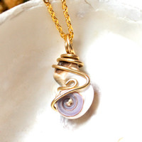 Hawaii Seashell Necklace Hawaiian Jewelry by Mermaid Tears, wire wrapped shell pendant