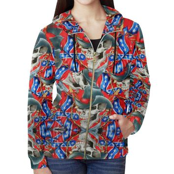 Rebel Cowboy Women's All Over Print Full Zip Hoodie