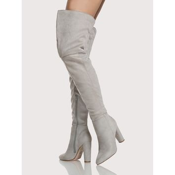Faux Suede Side Zip Up Thigh High Boots LIGHT GREY