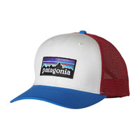 Patagonia P-6 Logo Trucker Hat- White with Andes Blue