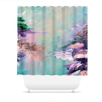 WINTER DREAMLAND 2 Turquoise Shower Curtain Ocean Waves Fine Art Painting Bathroom Washable Decor Teal Purple Coastal Nature Modern Stylish