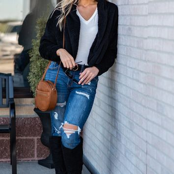 Lucky To Find You Sherpa Jacket : Black