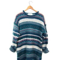Colorful 90s Mohair Sweater Fuzzy Mohair Sweater Blue Pink Cream Preppy Knit Sweater Long Slouchy Fall Woven BOHO Sweater Womens Small