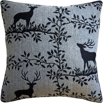 Caribou Embroidery Black Decorative Pillow