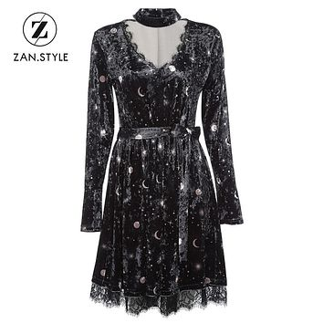 ZAN.STYLE Choker Spliced Lace Belted Moon Star Print Women Velour Dress Sexy V Neck Long Sleeve Spring Autumn Girl A Line Dress