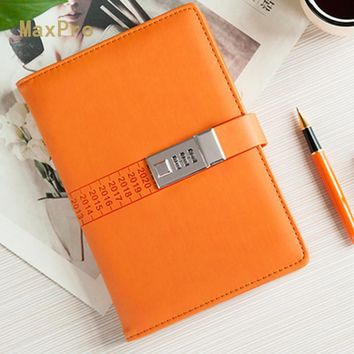 A5 PU Faux Leather Notebook Password Lock Loose Leaf Personal Dairy Memos Agenda Planner Organizer Travel Journal Office Book