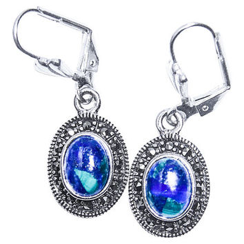 Azurite-Eilat stone earrings with Marcasite