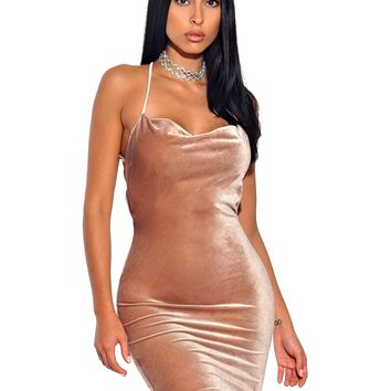 Sabine Stretch Velvet Criss Cross Draped BodyCon Dress
