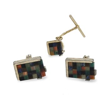 Mid Century Swank Cufflinks & Tie Tac, Multi Color Lucite Blocks