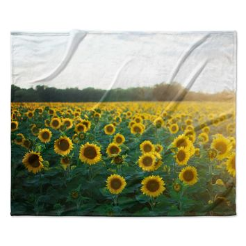 "Chelsea Victoria ""Sunflower Fields"" Floral Photography Fleece Throw Blanket"