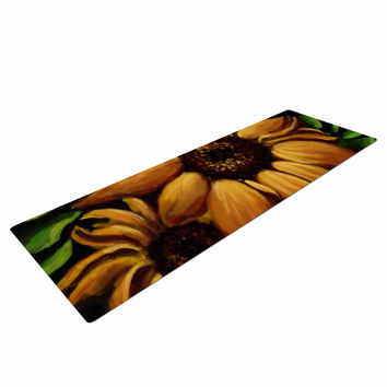 "Cyndi Steen ""Sunflower Days"" Yellow Floral Yoga Mat"