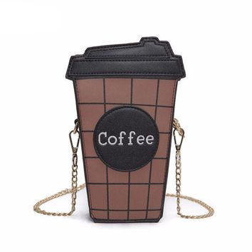 LMFONEJ Coffee Cup  Leather  Chain  Shoulder Bag