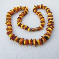 Vintage Genuine Baltic Polished Egg Yolk & Honey Amber Nugget Bead Necklace