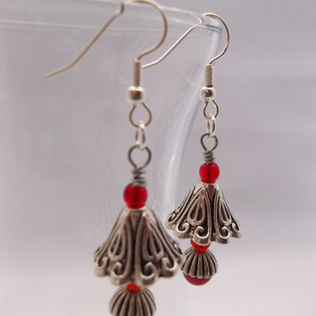 Antique Silver Red Lamp Earrings
