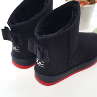 Women boots fashion  plush winter ankle boots women shoes solid bowtie Snow boots 2015