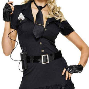 Sexy Women Police Costume Halloween Cosplay Dirty Cop Dress Police Party Costumes Police Uniform Style Dress + Tie + Belt + Cap