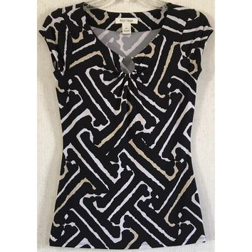 White House Black Market Keyhole Top Geo Column Silver Metal Beige Blouse XS